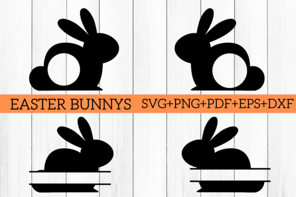 Download Free Easter Bunny Split Monogram Cut Files Graphic By Mockup Venue for Cricut Explore, Silhouette and other cutting machines.