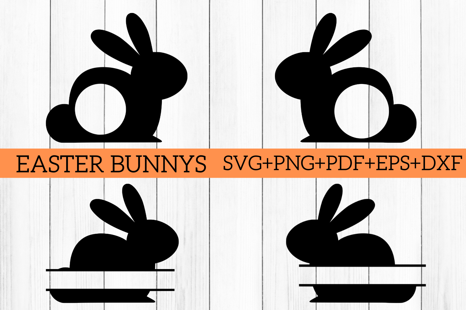 Download Free Easter Bunny Split Monogram Cut Files Graphic By Mockup Venue Creative Fabrica for Cricut Explore, Silhouette and other cutting machines.