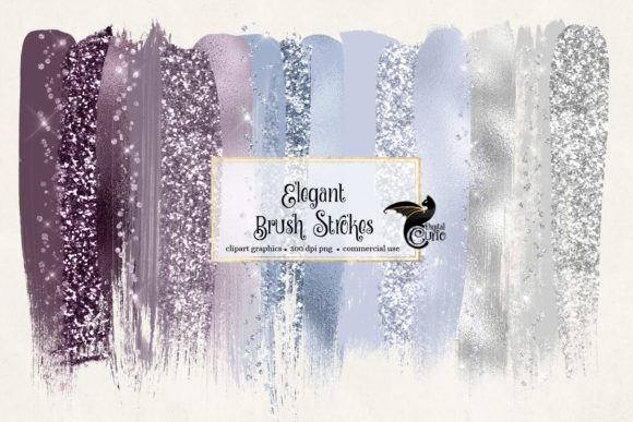 Elegant Brush Strokes Clipart Graphic Objects By Digital Curio - Image 1