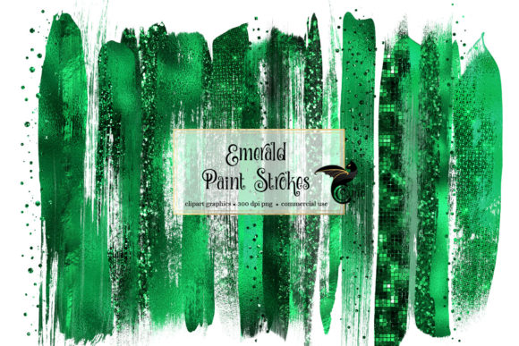 Emerald Green Brush Strokes Clipart Graphic Objects By Digital Curio - Image 1