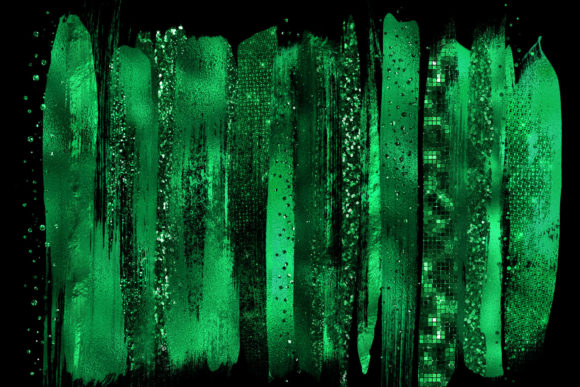 Emerald Green Brush Strokes Clipart Graphic Objects By Digital Curio - Image 2