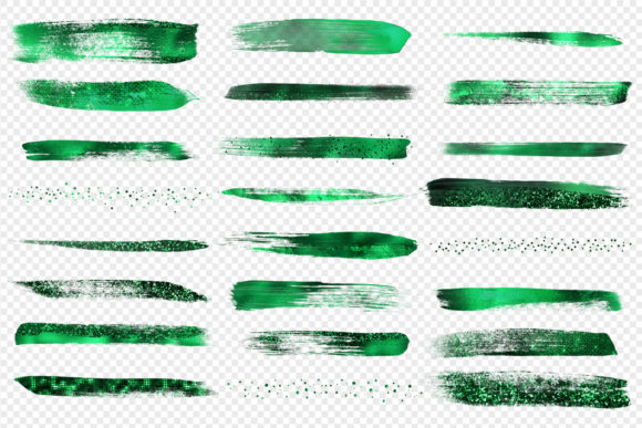 Emerald Green Brush Strokes Clipart Graphic Objects By Digital Curio - Image 3