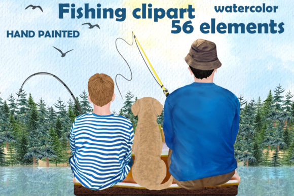 Fishing Clipart, Boy and Dad Fishing Graphic Illustrations By LeCoqDesign