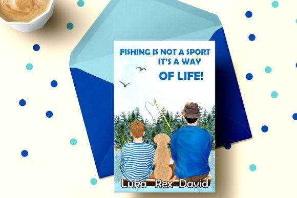 Fishing Clipart, Boy and Dad Fishing Graphic Illustrations By LeCoqDesign - Image 5