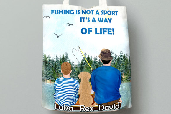 Fishing Clipart, Boy and Dad Fishing Graphic Illustrations By LeCoqDesign - Image 8