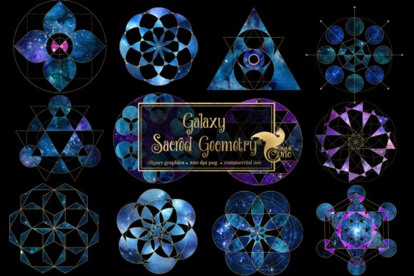 Print on Demand: Galaxy Sacred Geometry Clipart Graphic Illustrations By Digital Curio