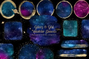 Print on Demand: Galaxy and Gold Watercolor Elements Graphic Illustrations By Digital Curio