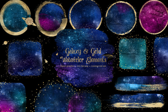 Galaxy and Gold Watercolor Elements Graphic Illustrations By Digital Curio