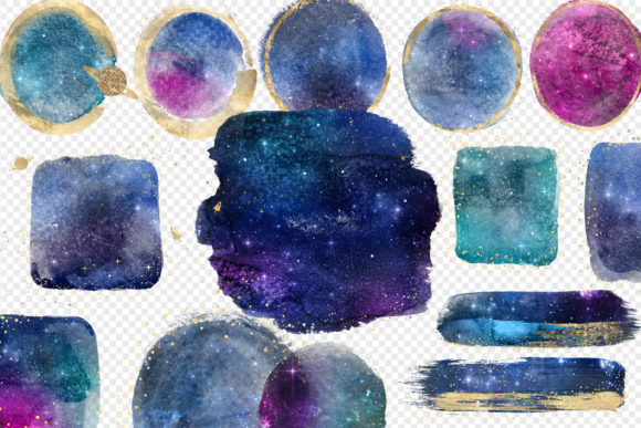 Galaxy and Gold Watercolor Elements Graphic Illustrations By Digital Curio - Image 2