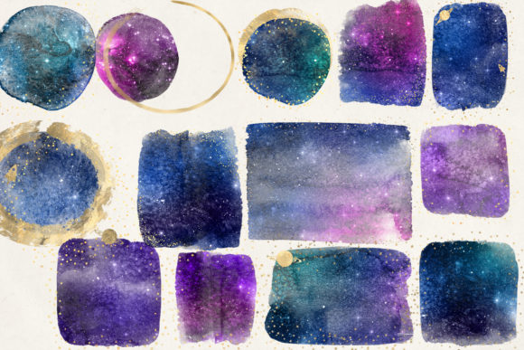 Galaxy and Gold Watercolor Elements Graphic Illustrations By Digital Curio - Image 3
