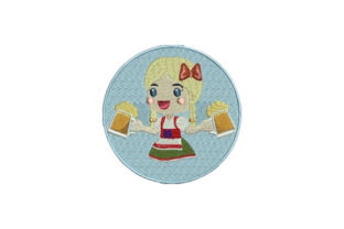 Girl in Dirndl Europe Embroidery Design By Embroidery Designs