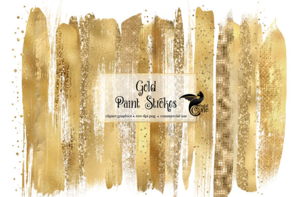 Print on Demand: Gold Paint Brush Strokes Clipart Graphic Objects By Digital Curio