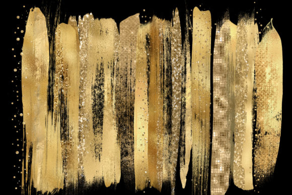Gold Paint Brush Strokes Clipart Graphic Objects By Digital Curio - Image 2