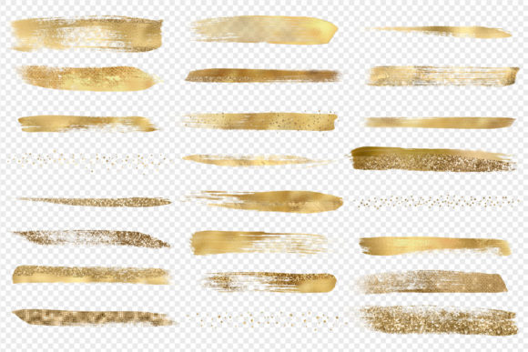 Gold Paint Brush Strokes Clipart Graphic Objects By Digital Curio - Image 3