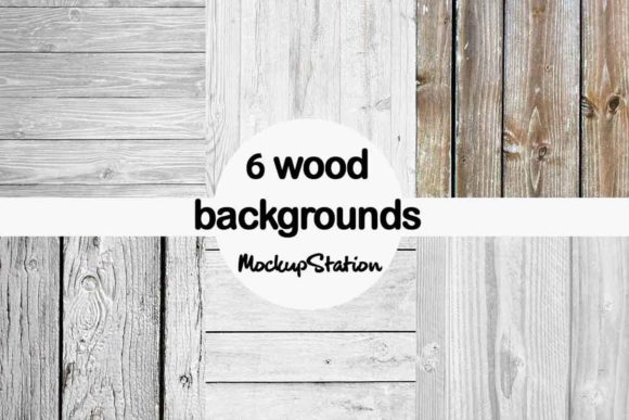 Print on Demand: Gray Wood Background Paper Bundle Grafik Hintegründe von Mockup Station