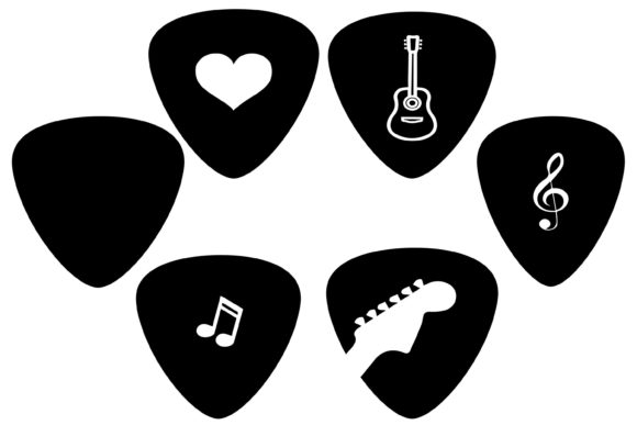Print on Demand: Guitar Pick Clipart Graphic Illustrations By retrowalldecor