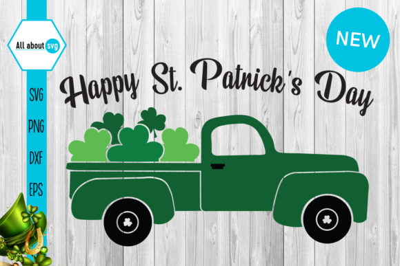 Download Free Happy St Patricks Day Truck Graphic By All About Svg Creative for Cricut Explore, Silhouette and other cutting machines.