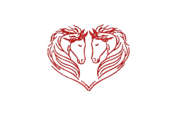 Heart of Horses Valentine's Day Embroidery Design By Embroidery Designs
