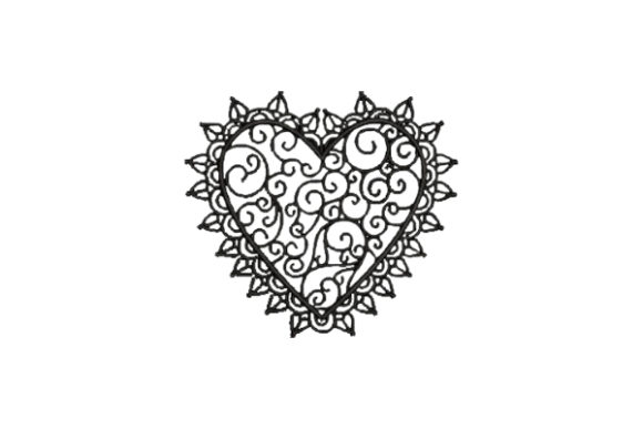 Heart with Black Lace Valentine's Day Embroidery Design By Embroidery Designs