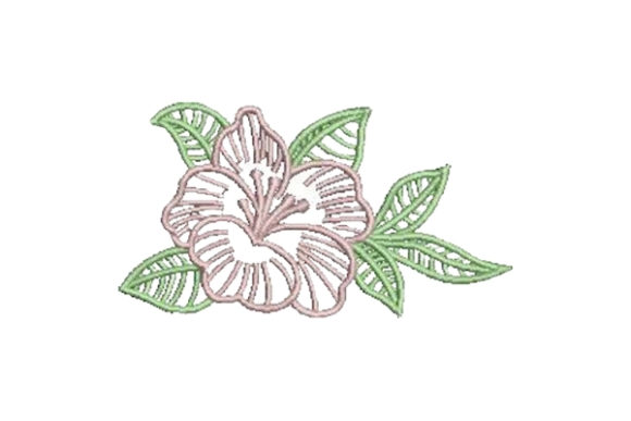 Hibiscus Outline Flower Contornos florales Diseños de bordado Por Embroidery Designs