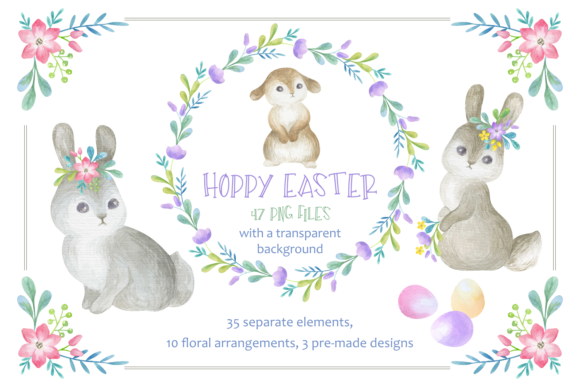 Print on Demand: Hoppy Easter Watercolor Clip Arts Set Graphic Illustrations By Olga Belova