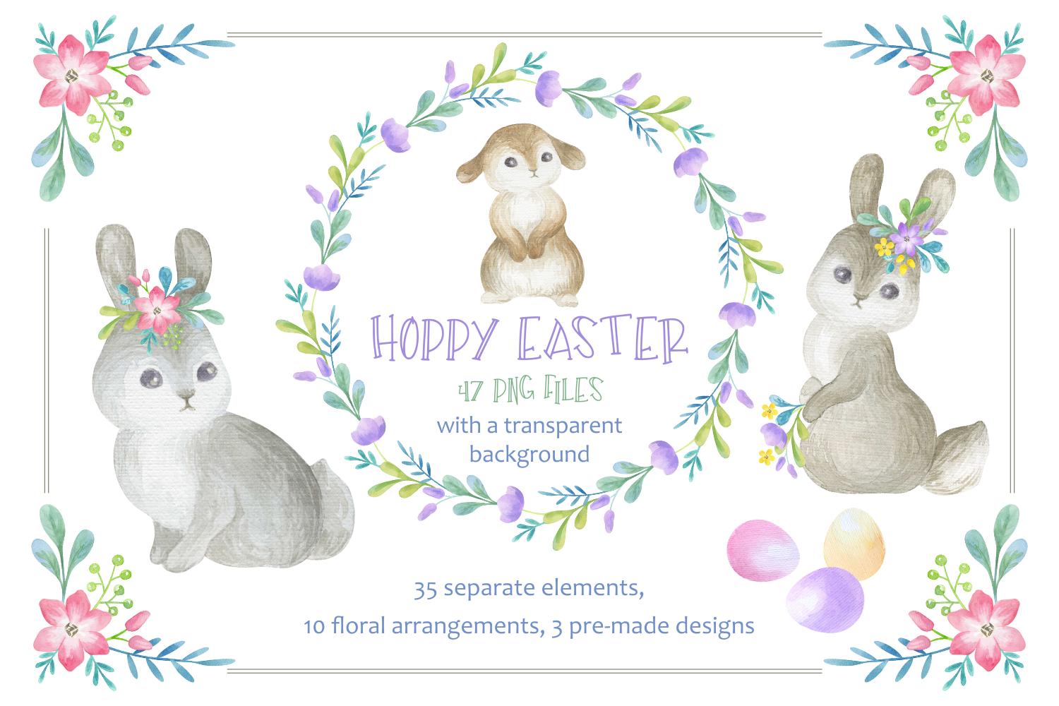 Download Free Hoppy Easter Watercolor Clip Arts Set Graphic By Olga Belova for Cricut Explore, Silhouette and other cutting machines.