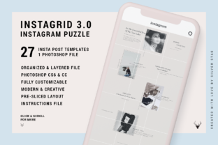 Print on Demand: #InstaGrid 3.0 - Instagram Puzzle Templa Graphic Websites By SilverStag