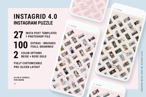 Print on Demand: #InstaGrid 4.0 - Instagram Puzzle Templa Graphic Websites By SilverStag