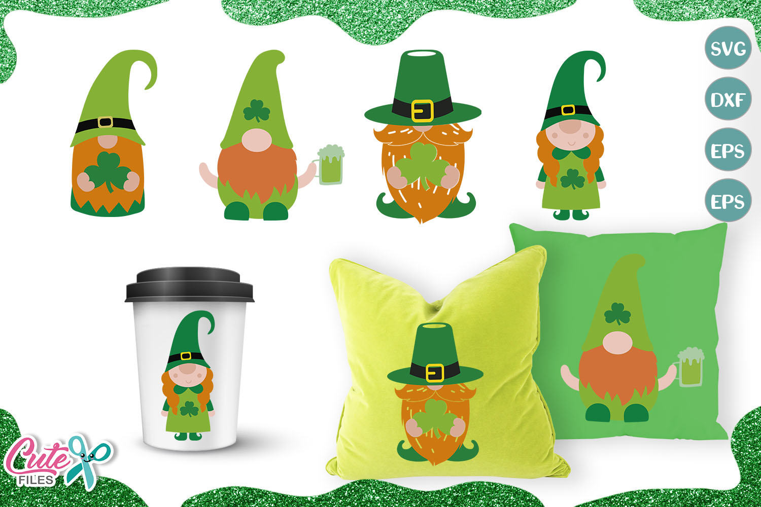 Download Free Irish Gnome St Patricks Mini Bundle Graphic By Cute Files for Cricut Explore, Silhouette and other cutting machines.