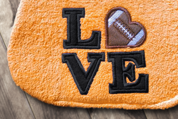 LOVE Football Applique Sports Embroidery Design By DesignedByGeeks - Image 1