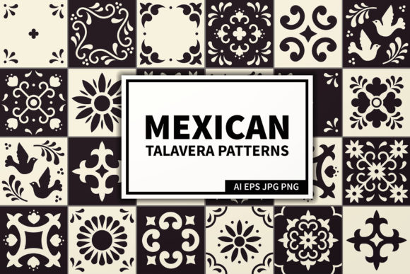 Mexican Talavera Tiles Patterns Set Graphic Patterns By kroljastock - Image 1