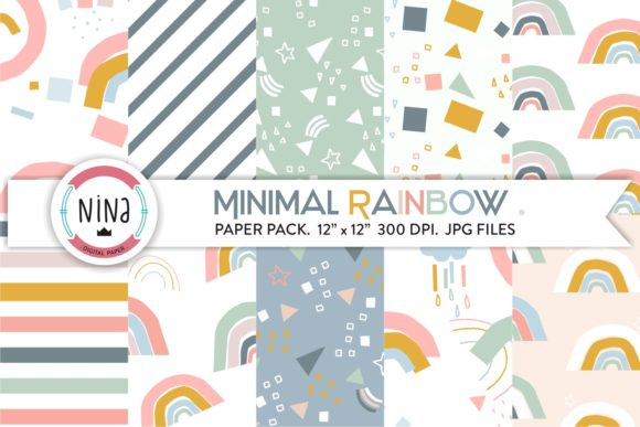 Minimal Rainbow Digital Paper Pastel Graphic Patterns By Nina Prints