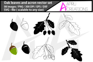 Print on Demand: Oak Leaves and Acorns Silhouette Graphic Icons By aparnastjp