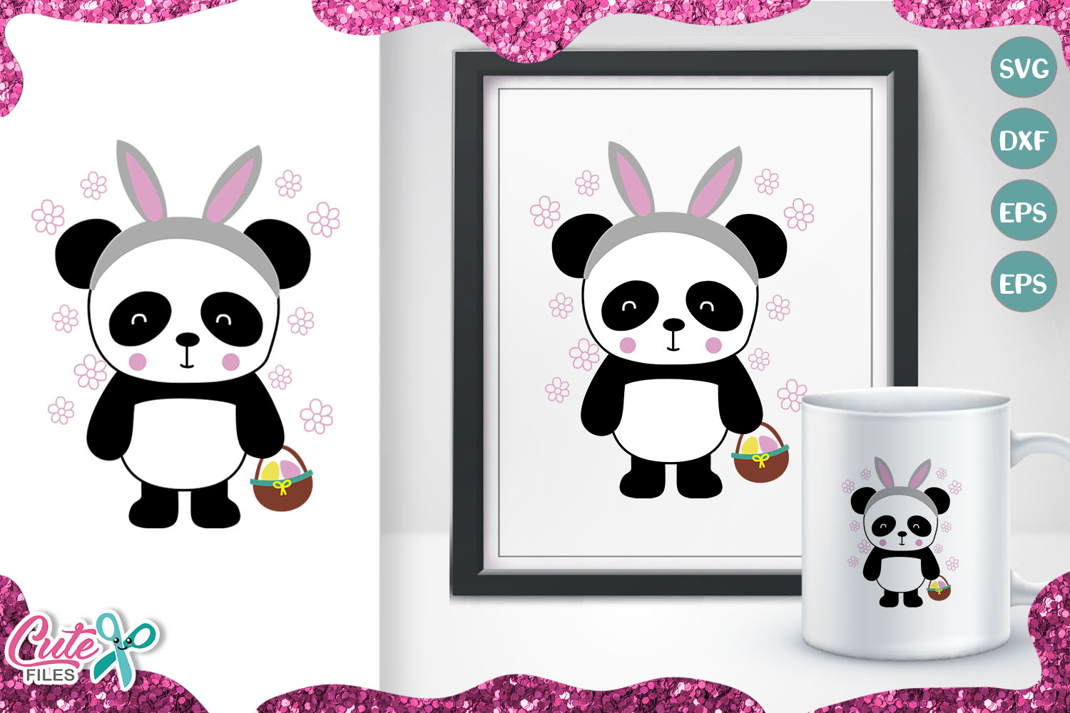 Download Free Panda With Bunny Ears Graphic By Cute Files Creative Fabrica for Cricut Explore, Silhouette and other cutting machines.