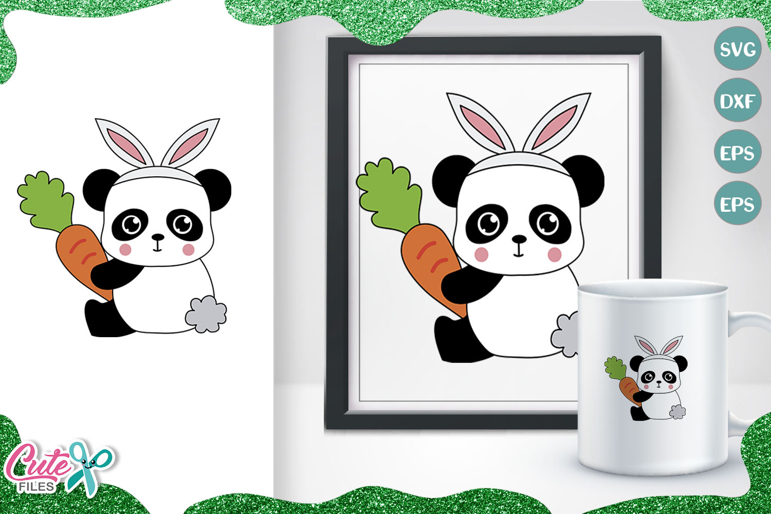 Download Free Panda With Bunny Ears And Carrot Graphic By Cute Files for Cricut Explore, Silhouette and other cutting machines.
