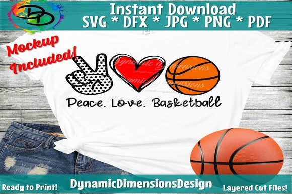 Download Free Peace Love Basketball Graphic By Dynamicdimensions Creative for Cricut Explore, Silhouette and other cutting machines.