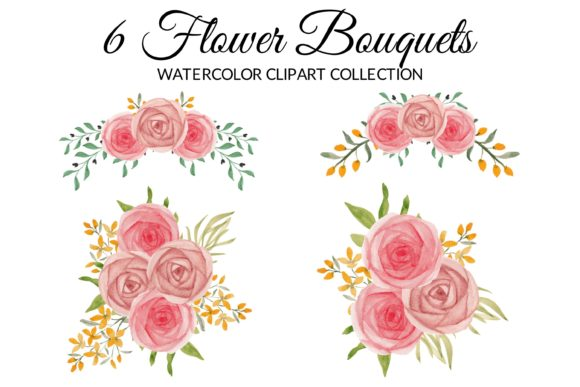 Pink Rose Floral Watercolor Clipart Set Graphic By Elsabenaa Creative Fabrica