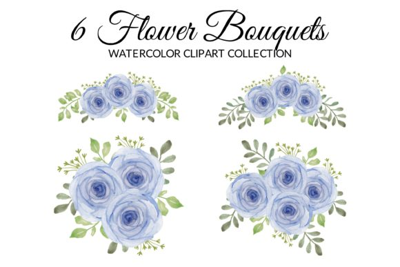 Purple Rose Floral Watercolor Clipart Graphic Illustrations By elsabenaa