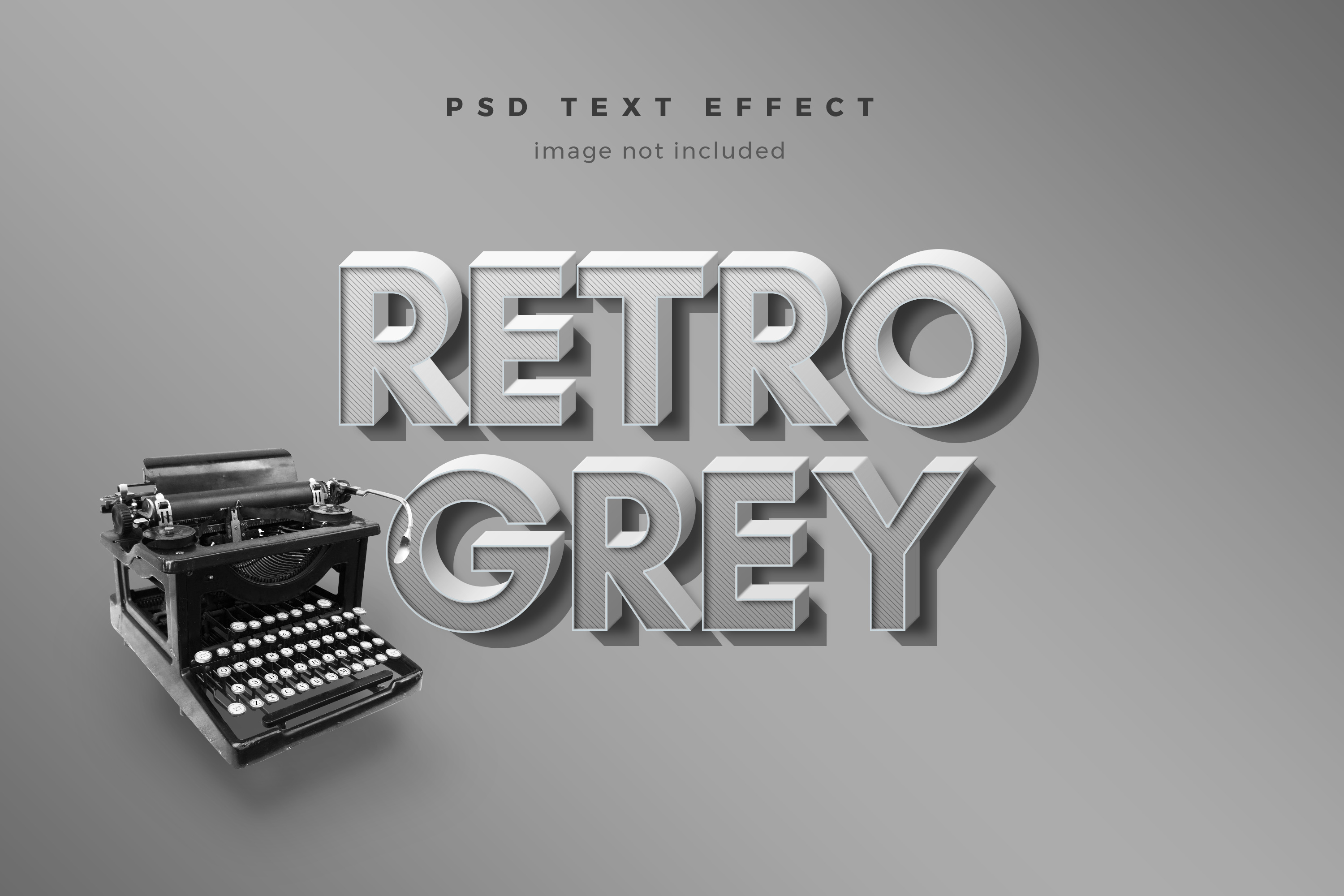 Download Free Retro Grey 3d Text Effect Template Graphic By Diqtam Creative for Cricut Explore, Silhouette and other cutting machines.