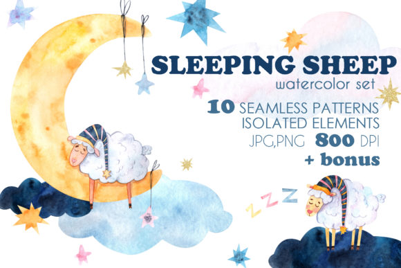 Print on Demand: Sleeping Sheep Watercolor Set Graphic Illustrations By VashaRisovasha