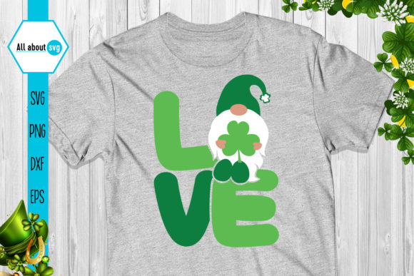 Download Free St Patricks Love Gnome Graphic By All About Svg Creative Fabrica for Cricut Explore, Silhouette and other cutting machines.