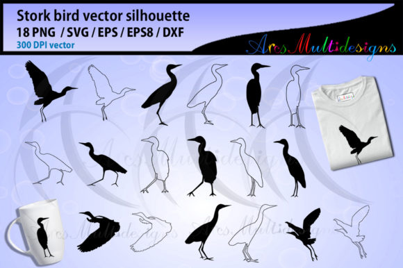 Print on Demand: Stork Bird Silhouette and Outline Graphic Illustrations By Arcs Multidesigns