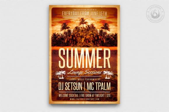 Summer Lounge Flyer Template V2 Graphic Print Templates By ThatsDesignStore