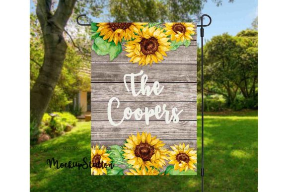 Print on Demand: Sunflower Garden Flag Graphic Print Templates By Mockup Station - Image 1