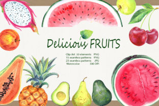 Watercolor Delicious Fruits Set Graphic Illustrations By evgenia_art_art