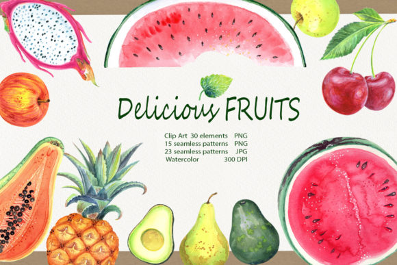 Print on Demand: Watercolor Delicious Fruits Set Graphic Illustrations By evgenia_art_art