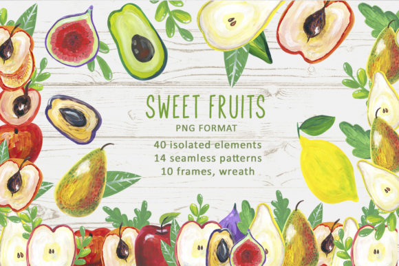 Print on Demand: Watercolor Sweet Fruits Graphic Illustrations By By Anna Sokol