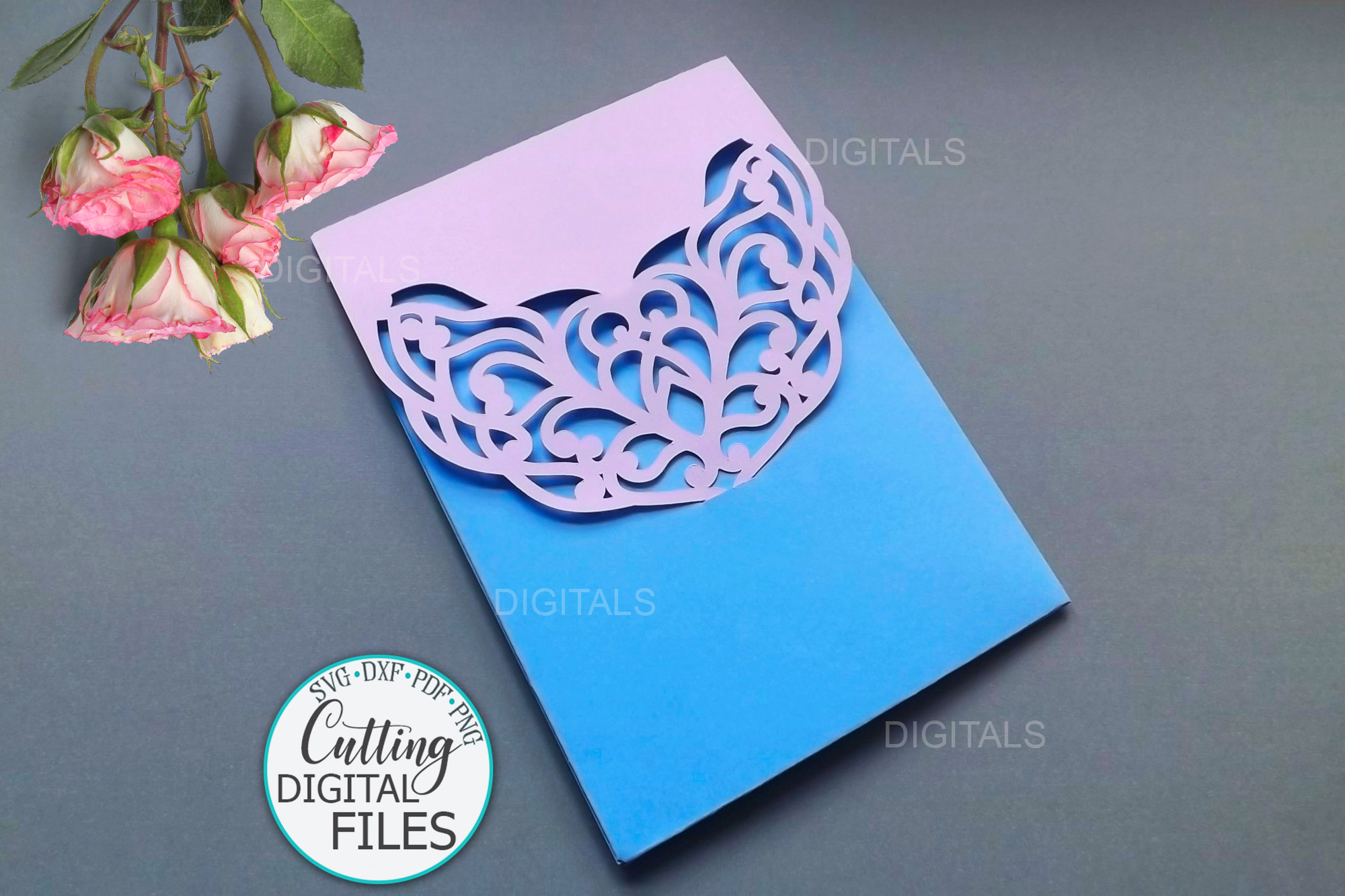 Wedding Pocket Envelope Laser Cut Graphic By Cornelia