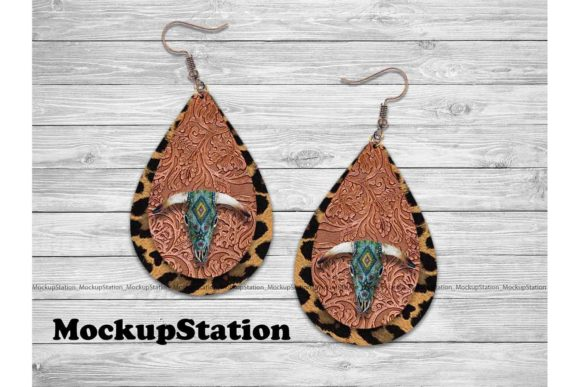 Print on Demand: Western Drop Earring Sublimation Design Graphic Print Templates By Mockup Station