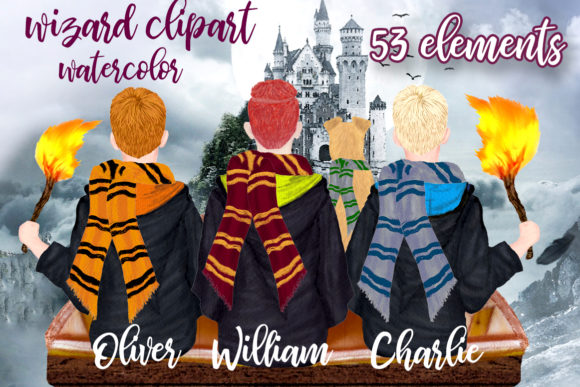 Wizard Boys Clipart, Castel Landscape Grafik Illustrationen von LeCoqDesign